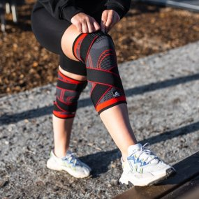 1 par justerbare knee sleeves med kompresjon Elite (1 par)